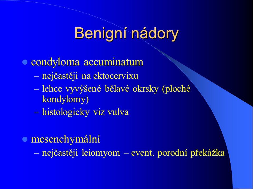 Benigní nádory condyloma accuminatum – nejčastěji na ektocervixu – lehce vyvýšené bělavé okrsky (ploché kondylomy) – histologicky viz vulva mesenchymální – nejčastěji leiomyom – event.