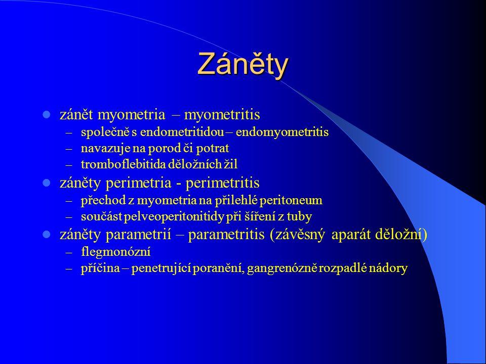Záněty zánět myometria – myometritis – společně s endometritidou – endomyometritis – navazuje na porod či potrat – tromboflebitida děložních žil záněty perimetria - perimetritis – přechod z myometria na přilehlé peritoneum – součást pelveoperitonitidy při šíření z tuby záněty parametrií – parametritis (závěsný aparát děložní) – flegmonózní – příčina – penetrující poranění, gangrenózně rozpadlé nádory