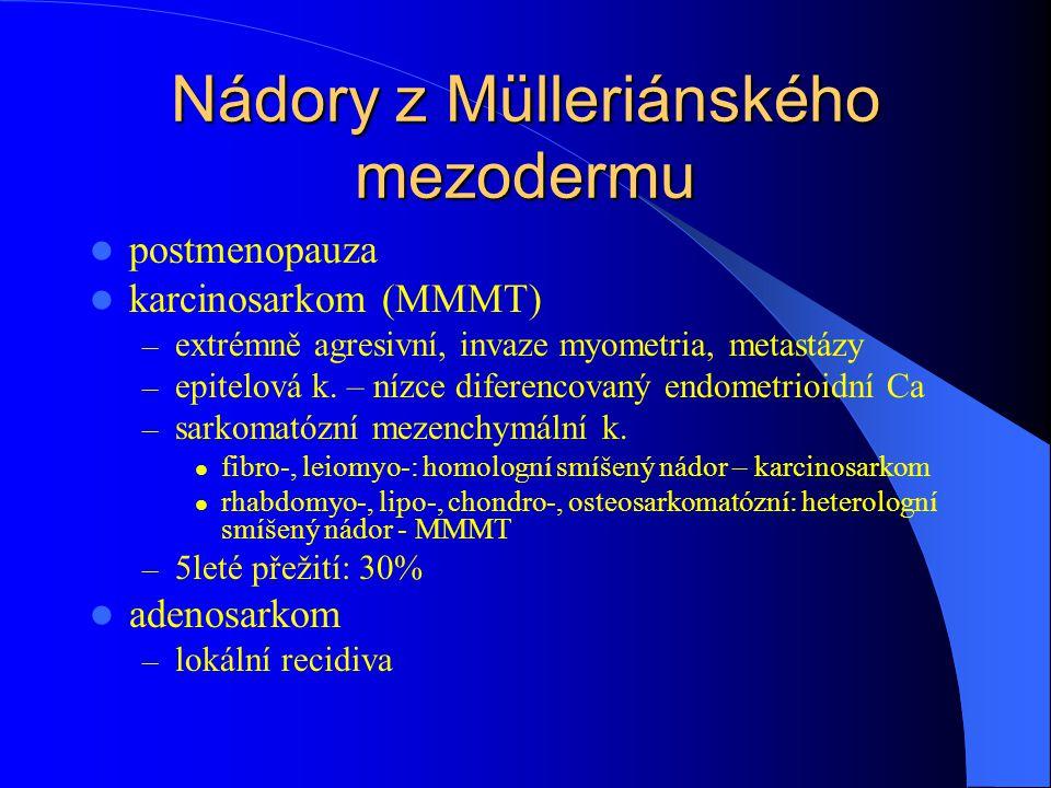 Nádory z Mülleriánského mezodermu postmenopauza karcinosarkom (MMMT) – extrémně agresivní, invaze myometria, metastázy – epitelová k. – nízce diferenc