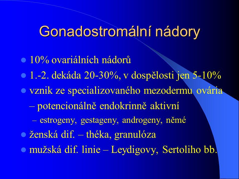Gonadostromální nádory 10% ovariálních nádorů 1.-2. dekáda 20-30%, v dospělosti jen 5-10% vznik ze specializovaného mezodermu ovária – potencionálně e