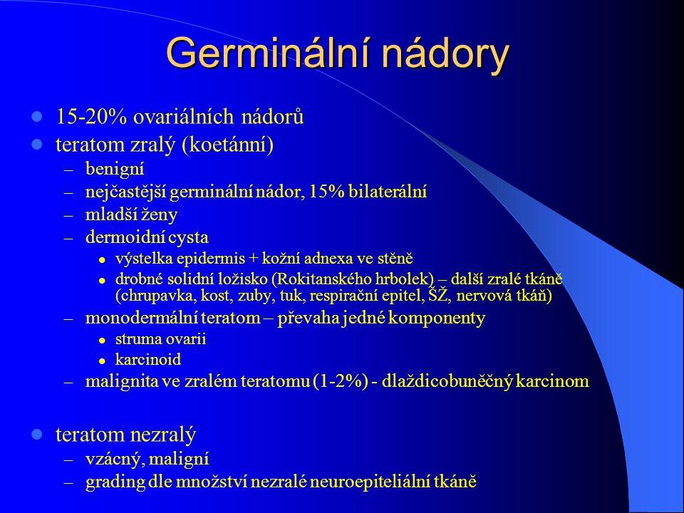 Germinální nádory 15-20% ovariálních nádorů teratom zralý (koetánní) – benigní – nejčastější germinální nádor, 15% bilaterální – mladší ženy – dermoidní cysta výstelka epidermis + kožní adnexa ve stěně drobné solidní ložisko (Rokitanského hrbolek) – další zralé tkáně (chrupavka, kost, zuby, tuk, respirační epitel, ŠŽ, nervová tkáň) – monodermální teratom – převaha jedné komponenty struma ovarii karcinoid – malignita ve zralém teratomu (1-2%) - dlaždicobuněčný karcinom teratom nezralý – vzácný, maligní – grading dle množství nezralé neuroepiteliální tkáně