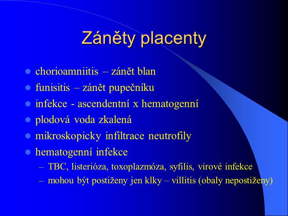 Záněty placenty chorioamniitis – zánět blan funisitis – zánět pupečníku infekce - ascendentní x hematogenní plodová voda zkalená mikroskopicky infiltrace neutrofily hematogenní infekce – TBC, listerióza, toxoplazmóza, syfilis, virové infekce – mohou být postiženy jen klky – villitis (obaly nepostiženy)