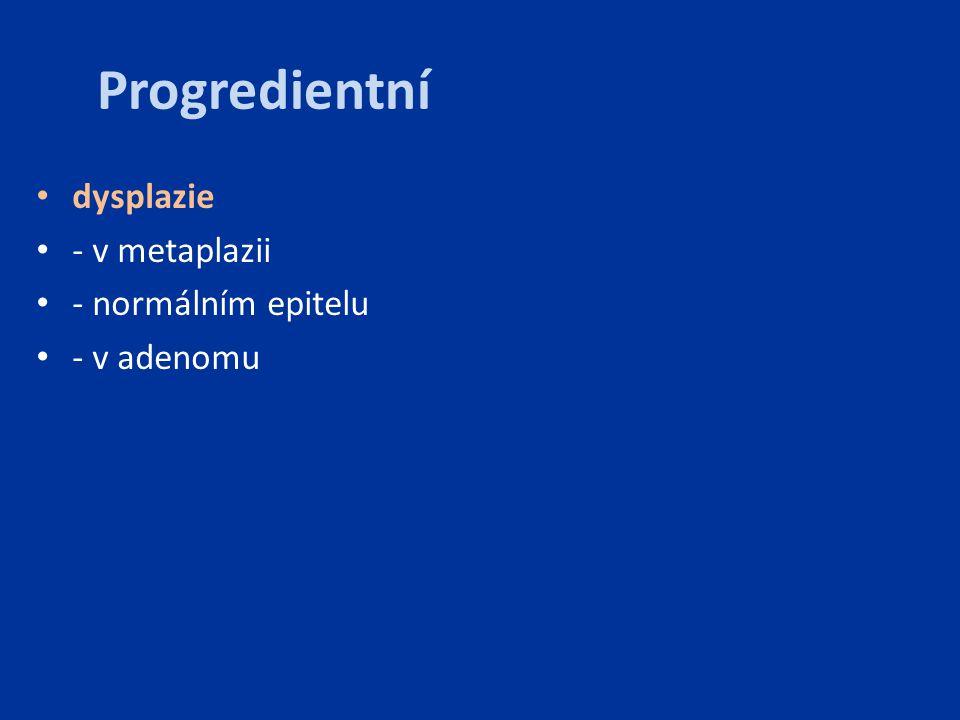 Progredientní dysplazie - v metaplazii - normálním epitelu - v adenomu