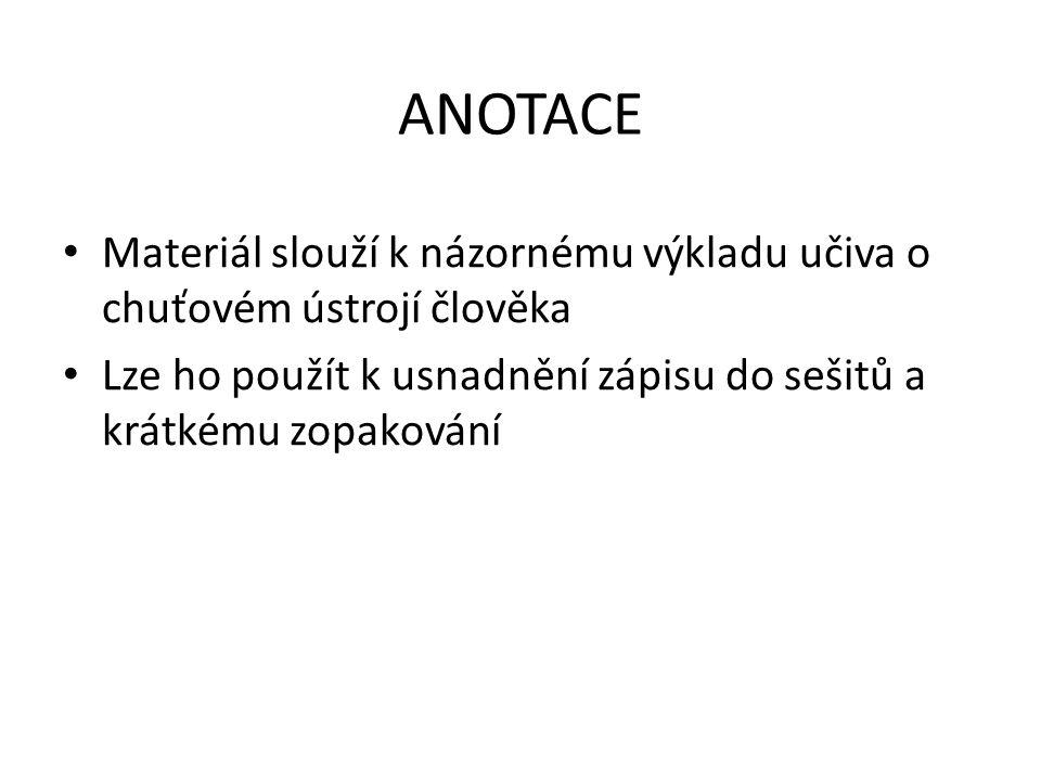 ANOTACE Materiál slouží k názornému výkladu učiva o chuťovém ústrojí člověka Lze ho použít k usnadnění zápisu do sešitů a krátkému zopakování