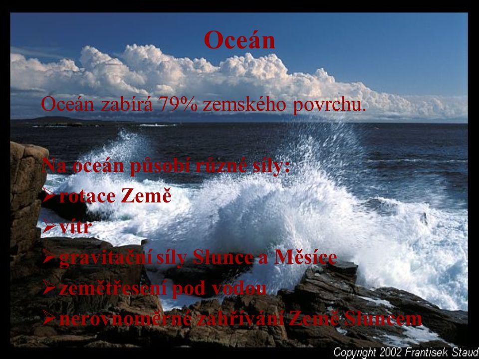 Vlny Vznikají působením větru, zemětřesením či výbuchem podmořské sopky Dosahují výšky 1,5- 3 metry Při prudké bouří se tyčí až do 20 metrů Podmořské vlny způsobují přílivové a odlivové proudy nebo přívaly