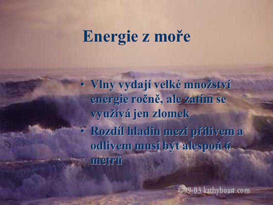 Druhy využití Přílivové elektrárny Elektrárny pro využití mořského příboje Energie mořských proudů
