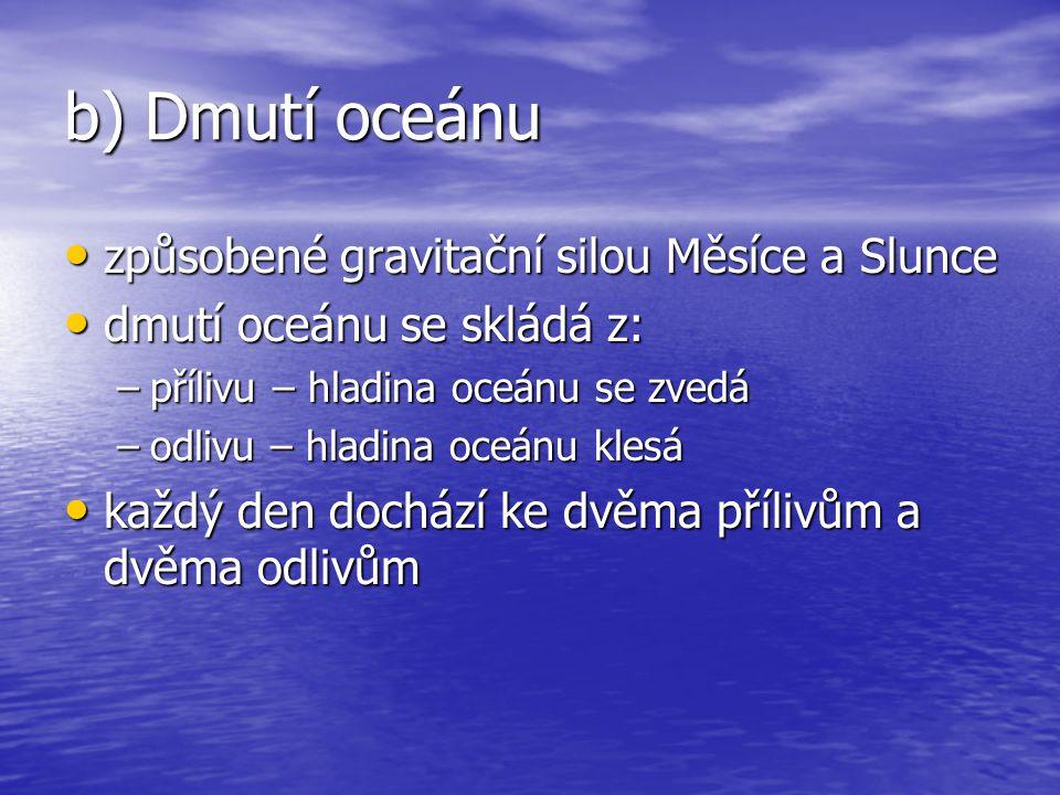 b) Dmutí oceánu způsobené gravitační silou Měsíce a Slunce způsobené gravitační silou Měsíce a Slunce dmutí oceánu se skládá z: dmutí oceánu se skládá