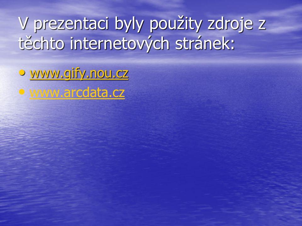 V prezentaci byly použity zdroje z těchto internetových stránek: www.gify.nou.cz www.gify.nou.cz www.gify.nou.cz www.arcdata.cz