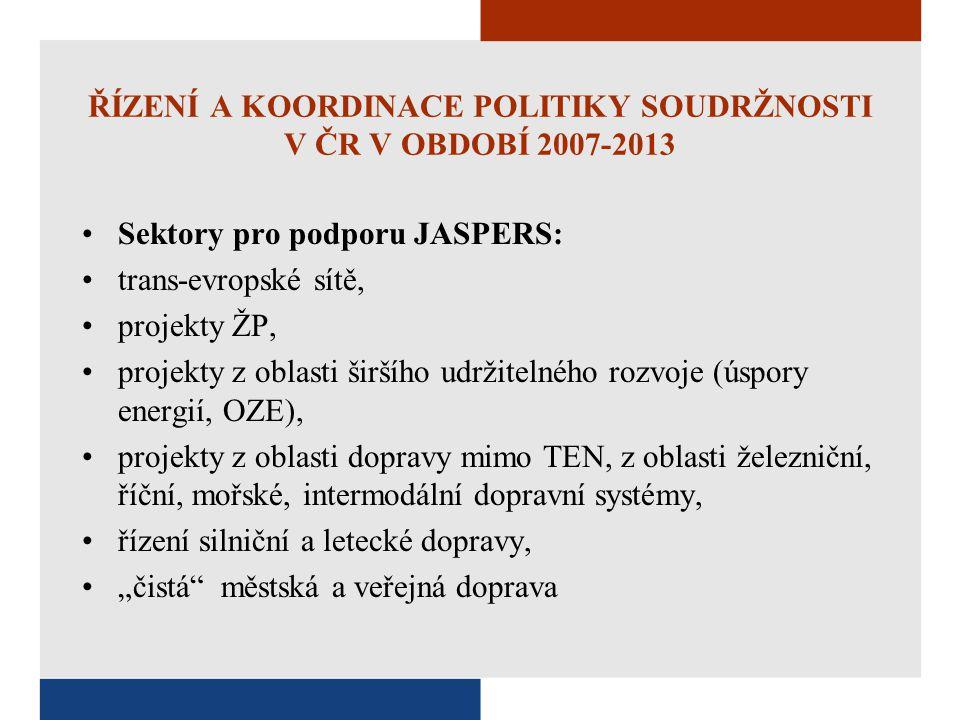 ŘÍZENÍ A KOORDINACE POLITIKY SOUDRŽNOSTI V ČR V OBDOBÍ 2007-2013 Sektory pro podporu JASPERS: trans-evropské sítě, projekty ŽP, projekty z oblasti šir