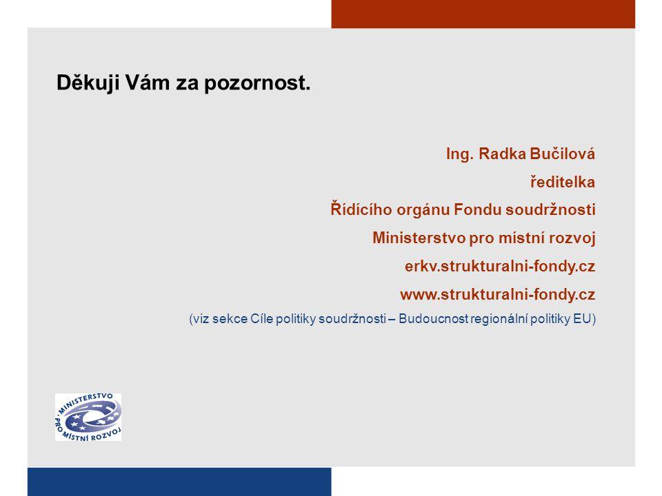 Ing. Radka Bučilová ředitelka Řídícího orgánu Fondu soudržnosti Ministerstvo pro místní rozvoj erkv.strukturalni-fondy.cz www.strukturalni-fondy.cz (v