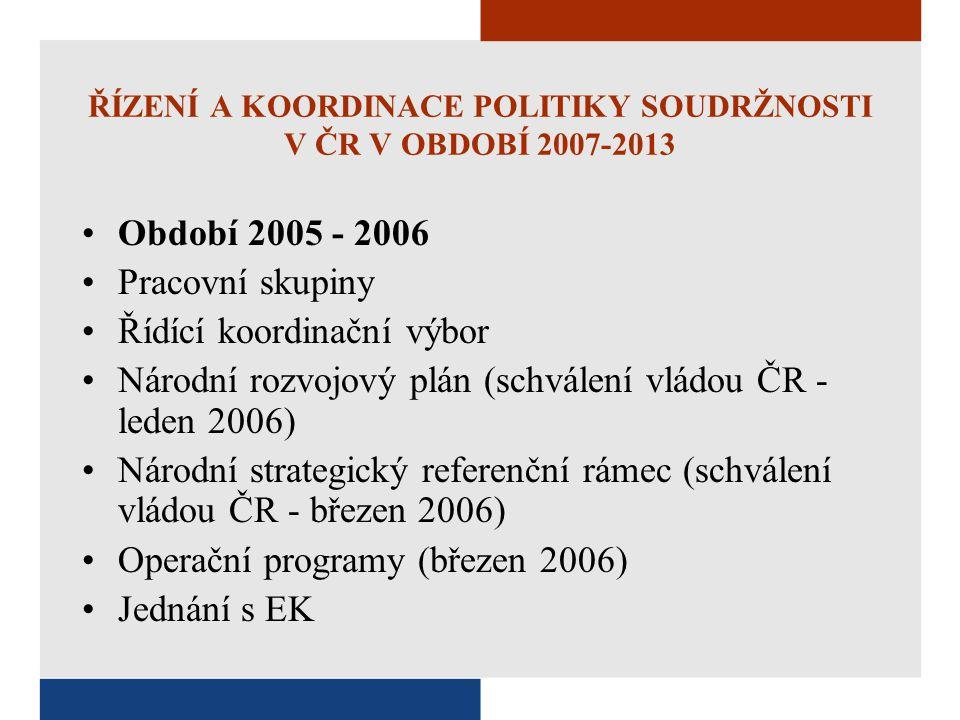 ŘÍZENÍ A KOORDINACE POLITIKY SOUDRŽNOSTI V ČR V OBDOBÍ 2007-2013 Období 2005 - 2006 Pracovní skupiny Řídící koordinační výbor Národní rozvojový plán (
