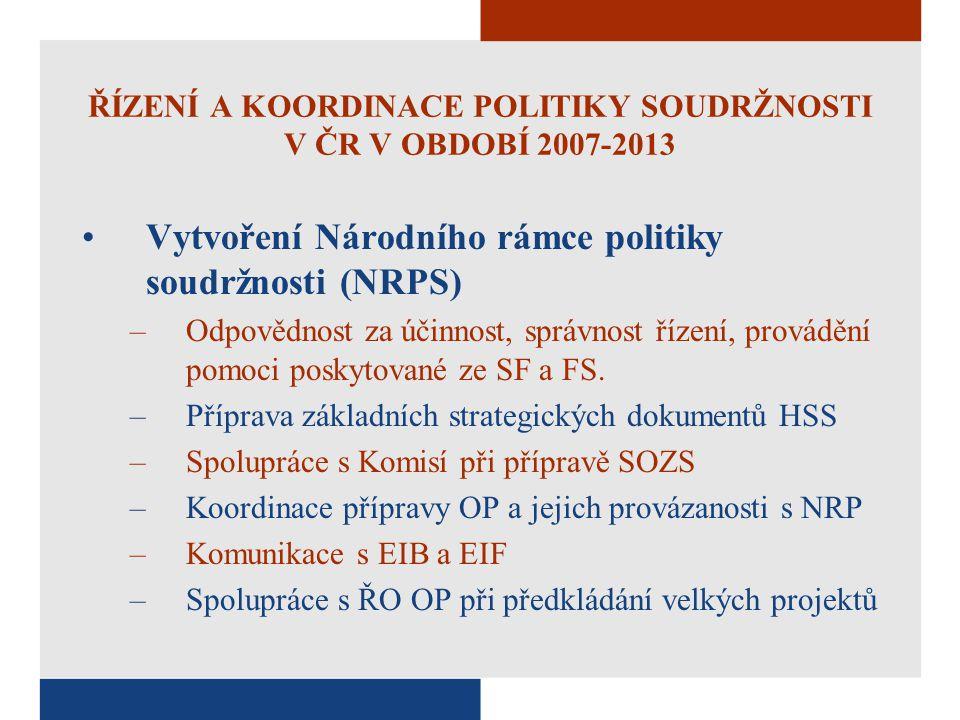 ŘÍZENÍ A KOORDINACE POLITIKY SOUDRŽNOSTI V ČR V OBDOBÍ 2007-2013 Vytvoření Národního rámce politiky soudržnosti (NRPS) –Odpovědnost za účinnost, správ