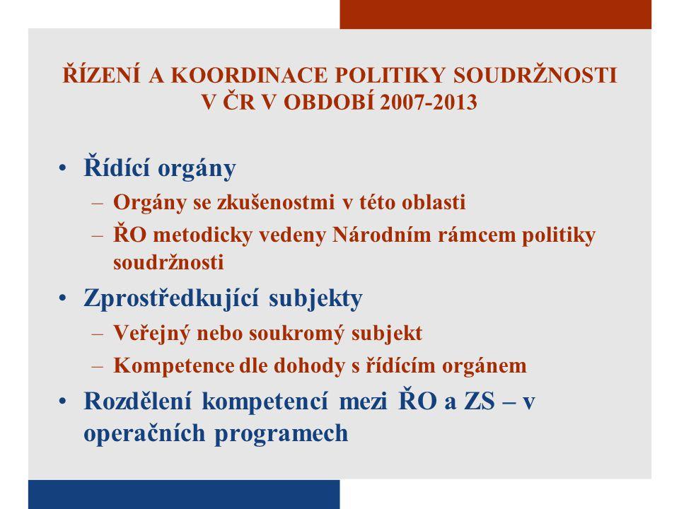 ŘÍZENÍ A KOORDINACE POLITIKY SOUDRŽNOSTI V ČR V OBDOBÍ 2007-2013 Řídící orgány –Orgány se zkušenostmi v této oblasti –ŘO metodicky vedeny Národním rám