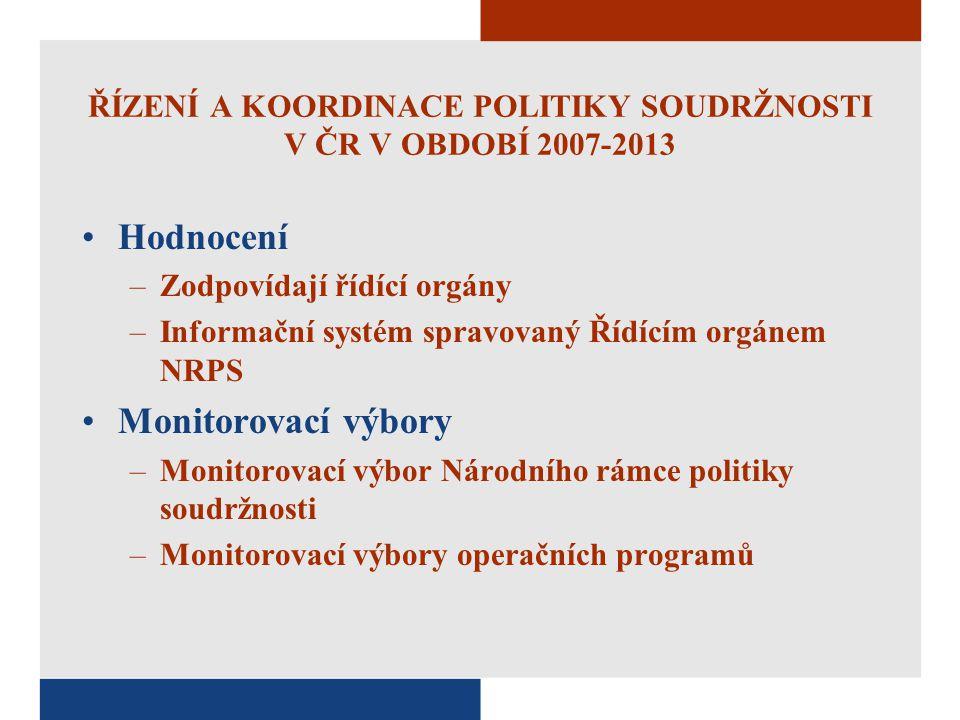 ŘÍZENÍ A KOORDINACE POLITIKY SOUDRŽNOSTI V ČR V OBDOBÍ 2007-2013 Hodnocení –Zodpovídají řídící orgány –Informační systém spravovaný Řídícím orgánem NR