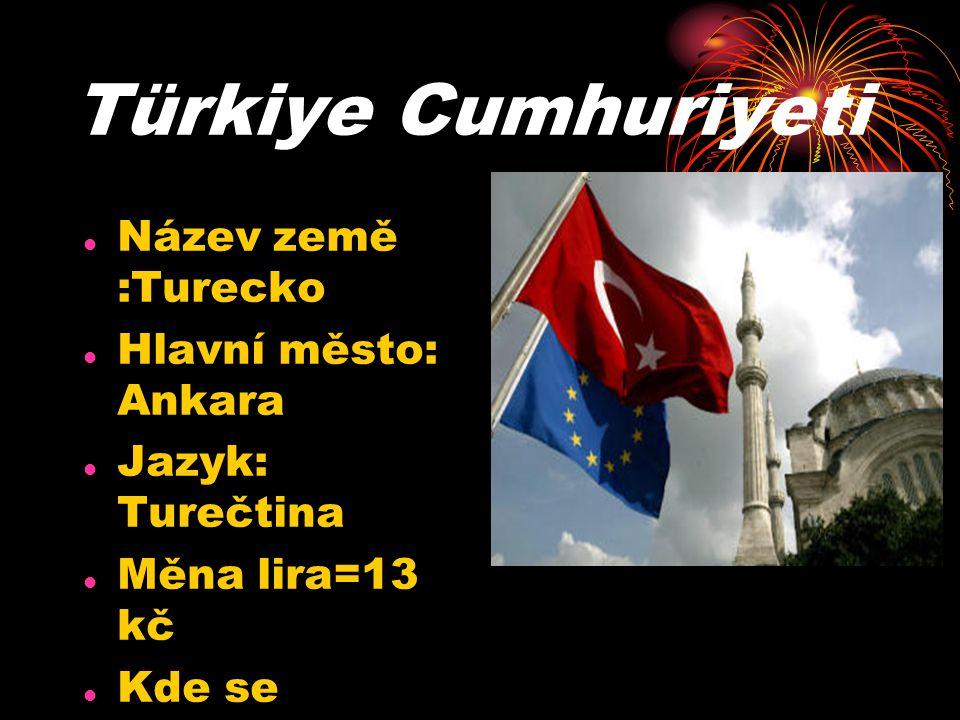 Türkiye Cumhuriyeti Název země :Turecko Hlavní město: Ankara Jazyk: Turečtina Měna lira=13 kč Kde se nachází:mezi Středním a černým mořem