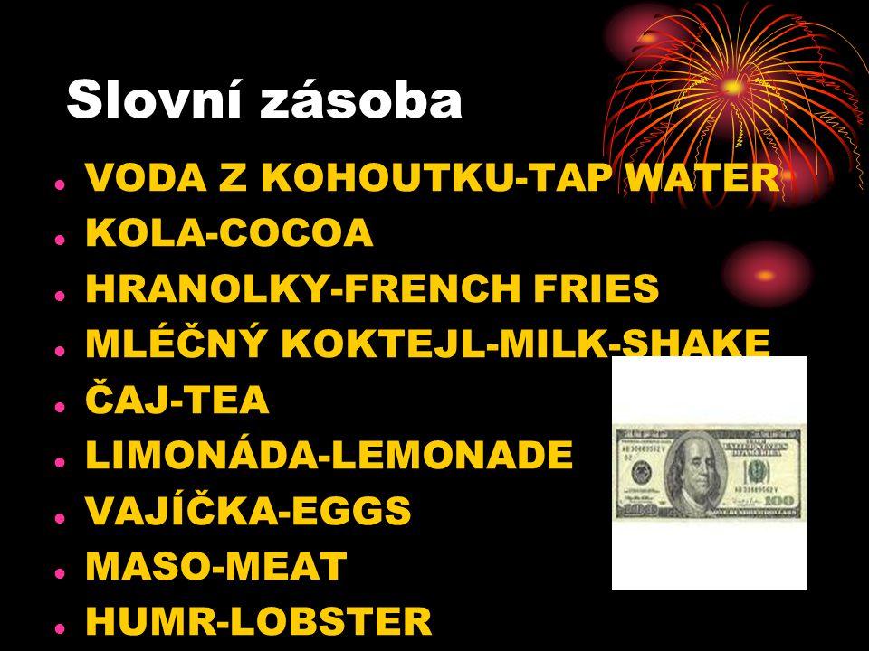 Slovní zásoba VODA Z KOHOUTKU-TAP WATER KOLA-COCOA HRANOLKY-FRENCH FRIES MLÉČNÝ KOKTEJL-MILK-SHAKE ČAJ-TEA LIMONÁDA-LEMONADE VAJÍČKA-EGGS MASO-MEAT HU