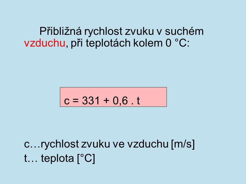 Přibližná rychlost zvuku ve sladké vodě: c = 1404,3 + 4,7.t c…rychlost zvuku ve vodě [m/s] t…teplota v rozsahu 15-35 [°C]