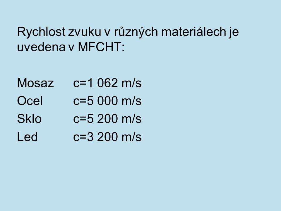 Rychlost zvuku v různých materiálech je uvedena v MFCHT: Mosazc=1 062 m/s Ocelc=5 000 m/s Skloc=5 200 m/s Ledc=3 200 m/s