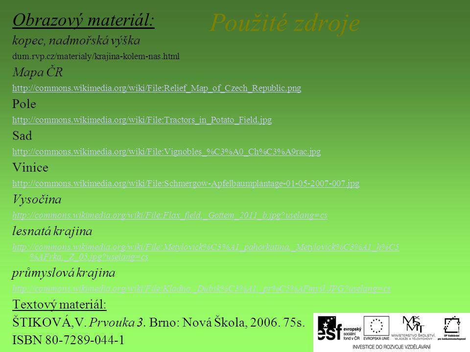 Použité zdroje Obrazový materiál: kopec, nadmořská výška dum.rvp.cz/materialy/krajina-kolem-nas.html Mapa ČR http://commons.wikimedia.org/wiki/File:Re