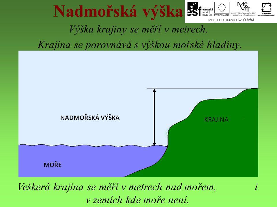 Nadmořská výška Výška krajiny se měří v metrech. Krajina se porovnává s výškou mořské hladiny. NADMOŘSKÁ VÝŠKA MOŘE KRAJINA Veškerá krajina se měří v