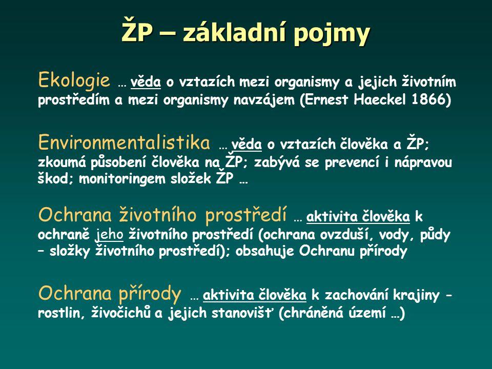 Ekologie … věda o vztazích mezi organismy a jejich životním prostředím a mezi organismy navzájem (Ernest Haeckel 1866) Environmentalistika … věda o vz