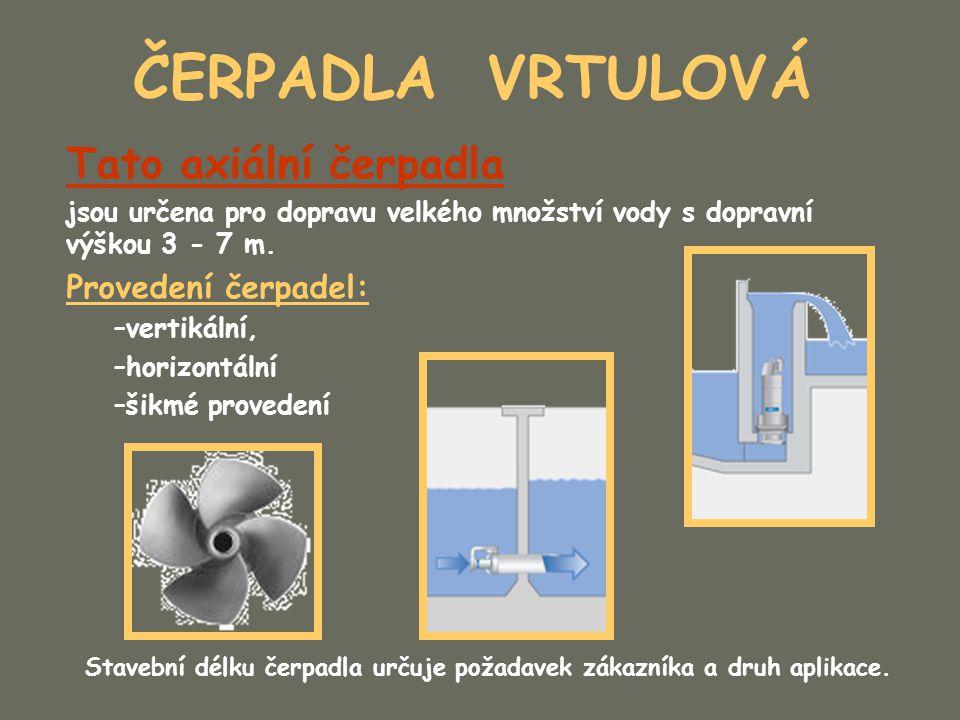ČERPADLA VRTULOVÁ Tato axiální čerpadla jsou určena pro dopravu velkého množství vody s dopravní výškou 3 - 7 m. Provedení čerpadel: –vertikální, –hor