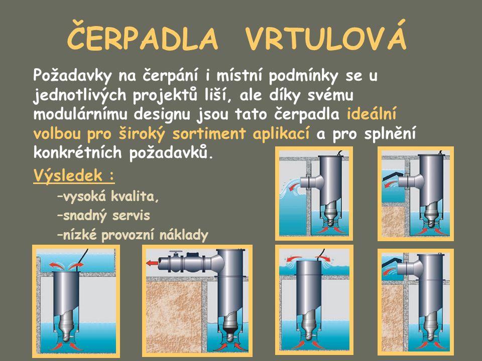 ČERPADLA VRTULOVÁ Požadavky na čerpání i místní podmínky se u jednotlivých projektů liší, ale díky svému modulárnímu designu jsou tato čerpadla ideáln