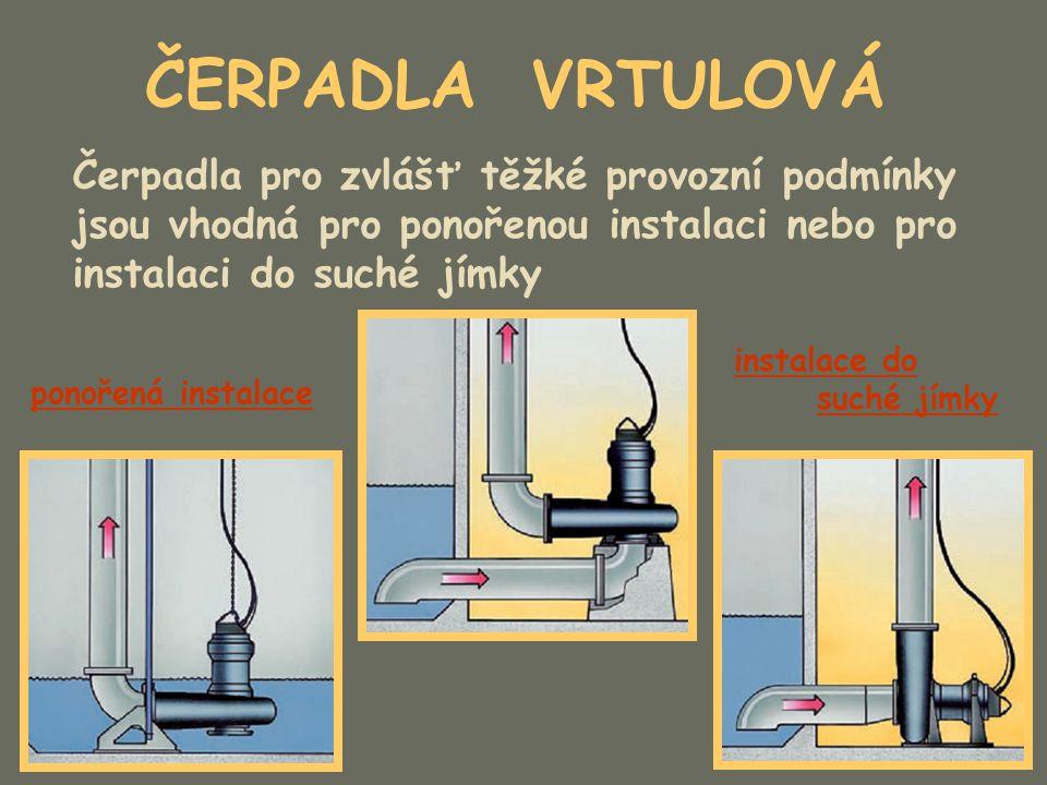 ČERPADLA VRTULOVÁ Čerpadla pro zvlášť těžké provozní podmínky jsou vhodná pro ponořenou instalaci nebo pro instalaci do suché jímky ponořená instalace
