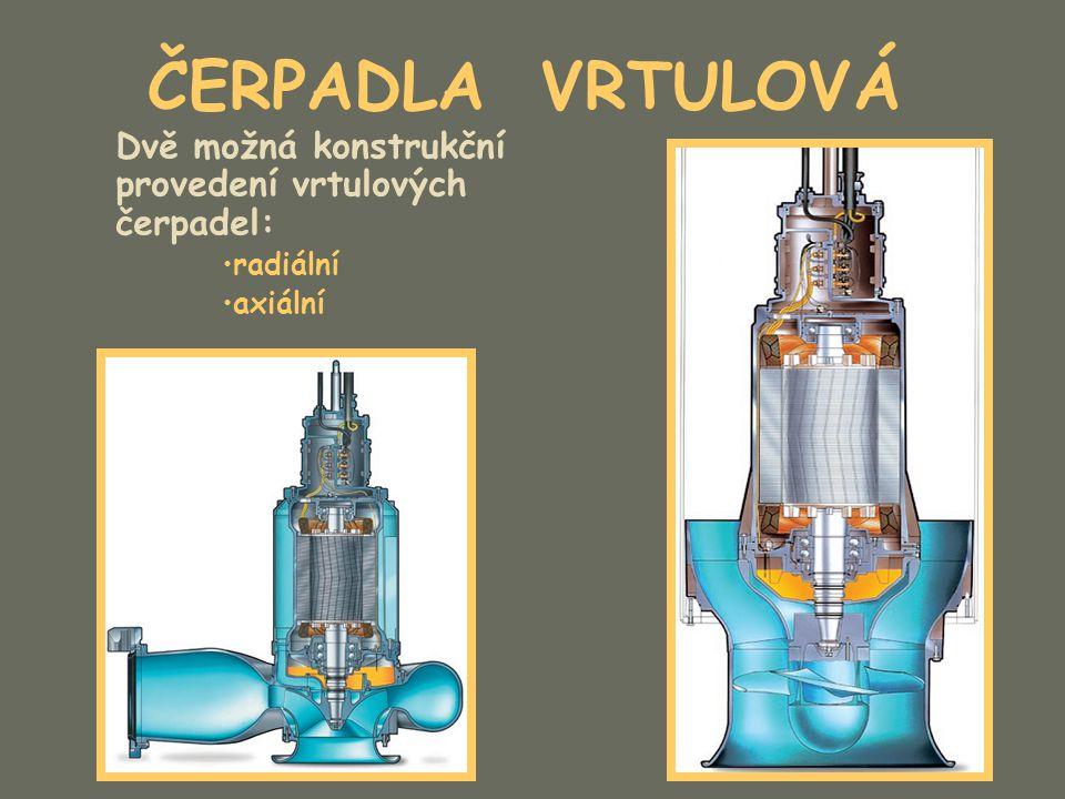 ČERPADLA VRTULOVÁ Dvě možná konstrukční provedení vrtulových čerpadel: radiální axiální