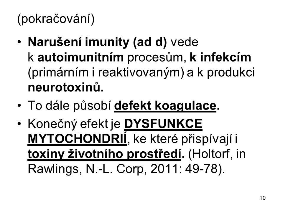 10 (pokračování) Narušení imunity (ad d) vede k autoimunitním procesům, k infekcím (primárním i reaktivovaným) a k produkci neurotoxinů. To dále působ