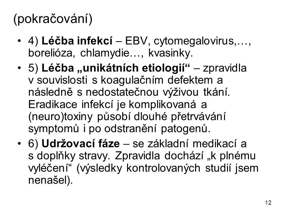 """12 (pokračování) 4) Léčba infekcí – EBV, cytomegalovirus,…, borelióza, chlamydie…, kvasinky. 5) Léčba """"unikátních etiologií"""" – zpravidla v souvislosti"""