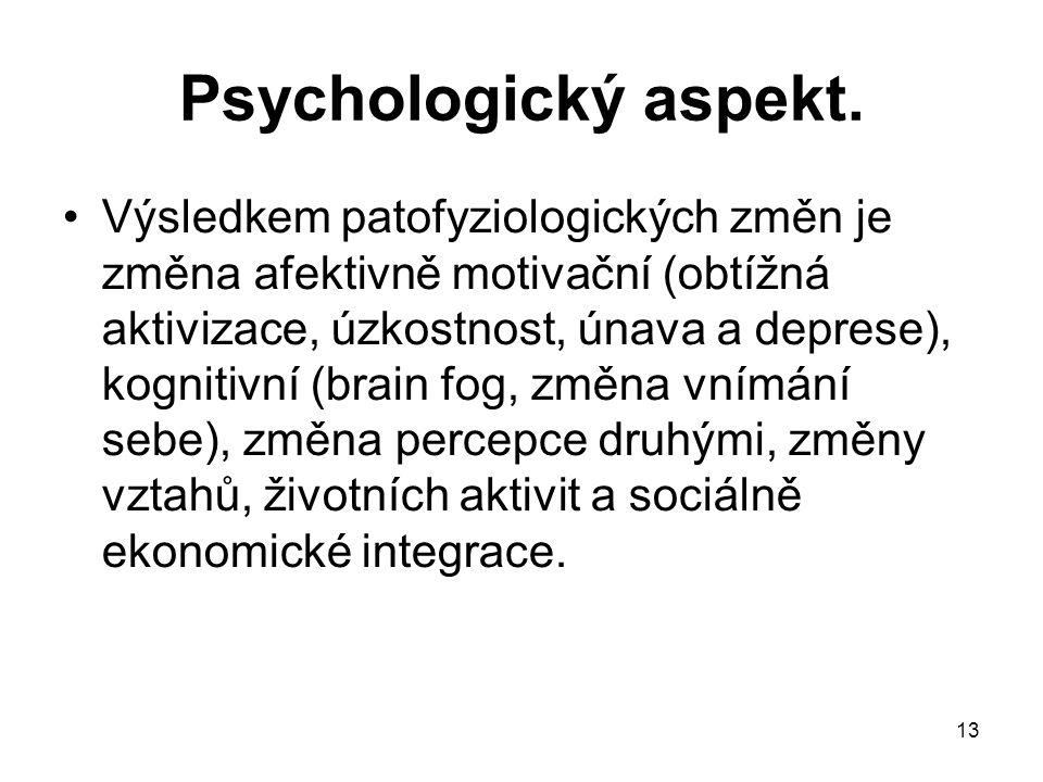 13 Psychologický aspekt. Výsledkem patofyziologických změn je změna afektivně motivační (obtížná aktivizace, úzkostnost, únava a deprese), kognitivní