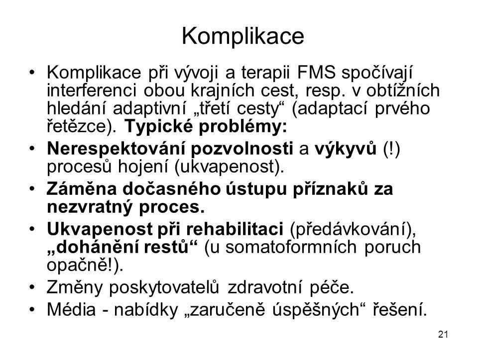 """21 Komplikace Komplikace při vývoji a terapii FMS spočívají interferenci obou krajních cest, resp. v obtížních hledání adaptivní """"třetí cesty"""" (adapta"""
