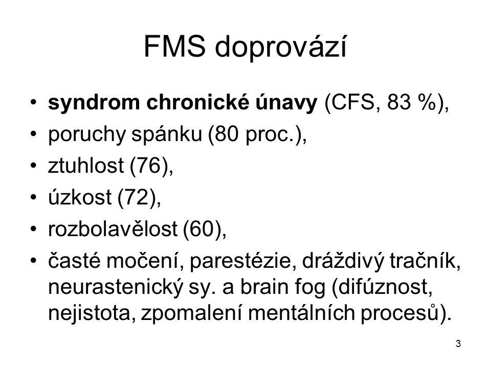 3 FMS doprovází syndrom chronické únavy (CFS, 83 %), poruchy spánku (80 proc.), ztuhlost (76), úzkost (72), rozbolavělost (60), časté močení, parestéz