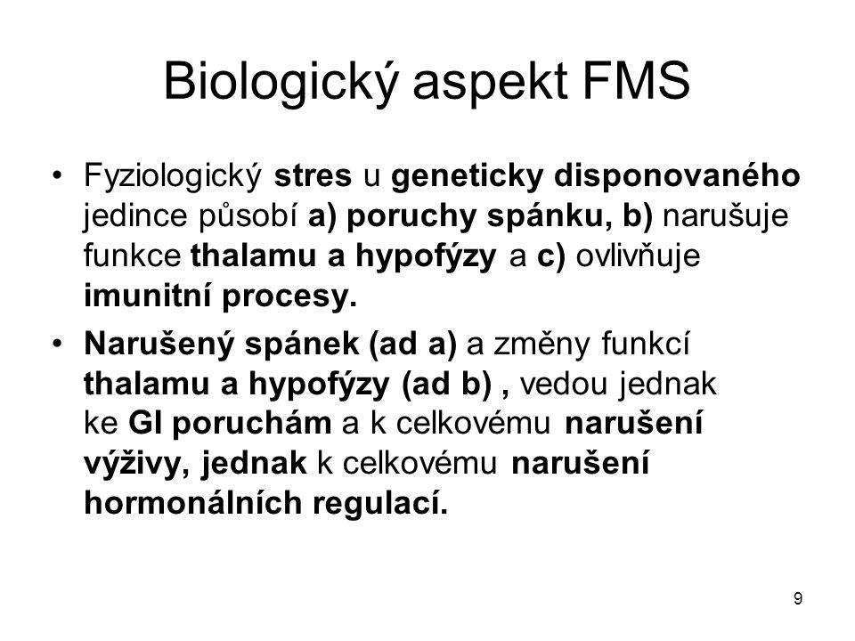 9 Biologický aspekt FMS Fyziologický stres u geneticky disponovaného jedince působí a) poruchy spánku, b) narušuje funkce thalamu a hypofýzy a c) ovli