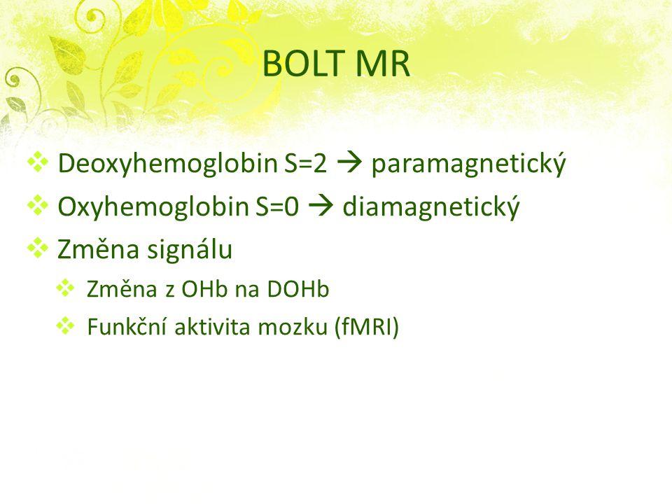 Deoxyhemoglobin S=2  paramagnetický  Oxyhemoglobin S=0  diamagnetický  Změna signálu  Změna z OHb na DOHb  Funkční aktivita mozku (fMRI) BOLT