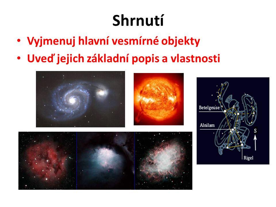 Shrnutí Vyjmenuj hlavní vesmírné objekty Uveď jejich základní popis a vlastnosti