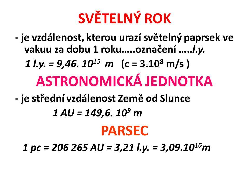SVĚTELNÝ ROK - je vzdálenost, kterou urazí světelný paprsek ve vakuu za dobu 1 roku…..označení …..l.y. 1 l.y. = 9,46. 10 15 m (c = 3.10 8 m/s ) ASTRON