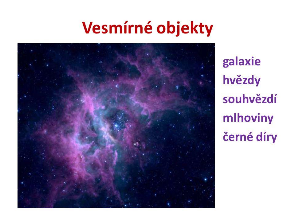 Vesmírné objekty galaxie hvězdy souhvězdí mlhoviny černé díry