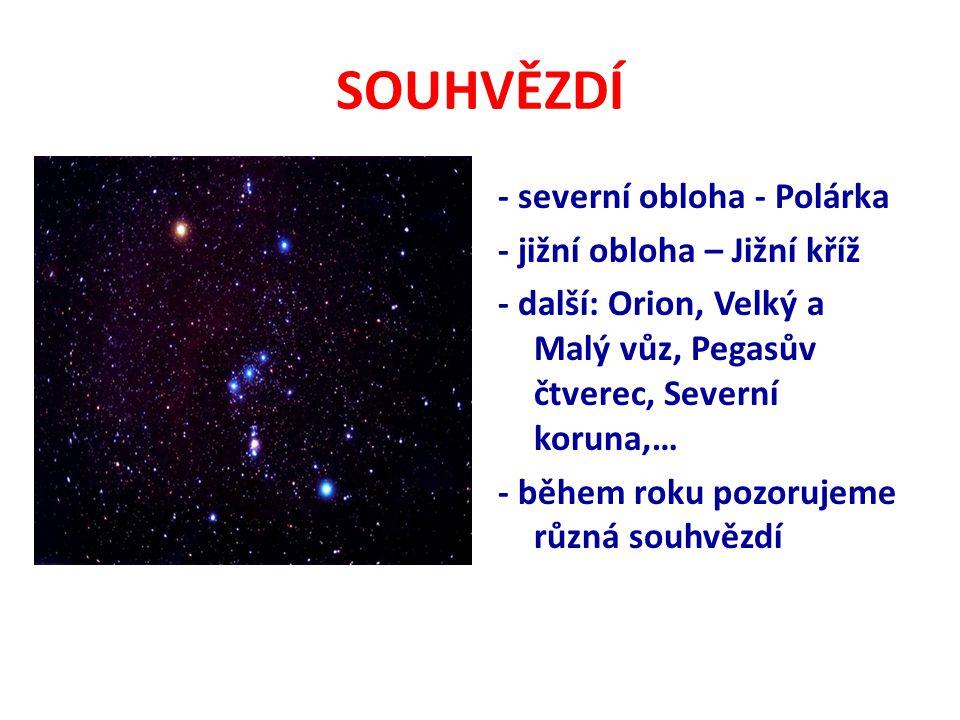 SOUHVĚZDÍ - severní obloha - Polárka - jižní obloha – Jižní kříž - další: Orion, Velký a Malý vůz, Pegasův čtverec, Severní koruna,… - během roku pozorujeme různá souhvězdí
