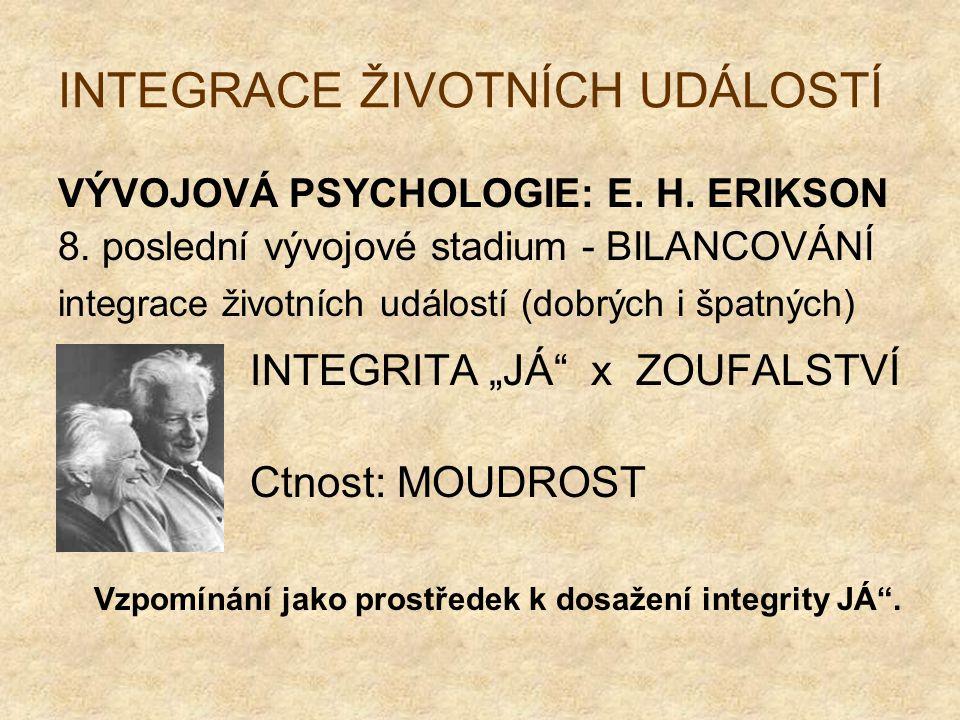 INTEGRACE ŽIVOTNÍCH UDÁLOSTÍ VÝVOJOVÁ PSYCHOLOGIE: E. H. ERIKSON 8. poslední vývojové stadium - BILANCOVÁNÍ integrace životních událostí (dobrých i šp
