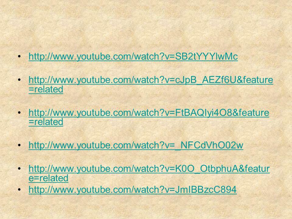 http://www.youtube.com/watch?v=SB2tYYYlwMc http://www.youtube.com/watch?v=cJpB_AEZf6U&feature =relatedhttp://www.youtube.com/watch?v=cJpB_AEZf6U&featu