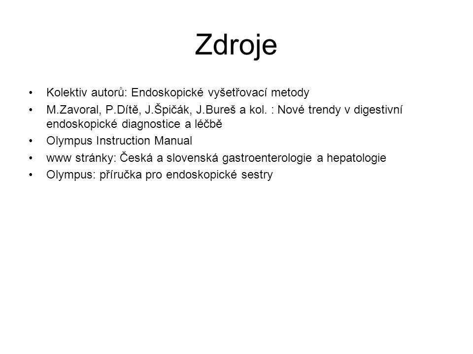 Zdroje Kolektiv autorů: Endoskopické vyšetřovací metody M.Zavoral, P.Dítě, J.Špičák, J.Bureš a kol. : Nové trendy v digestivní endoskopické diagnostic