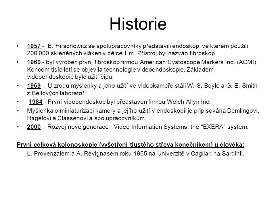 Historie 1957 - B. Hirschowitz se spolupracovníky představili endoskop, ve kterém použili 200 000 skleněných vláken v délce 1 m. Přístroj byl nazván f