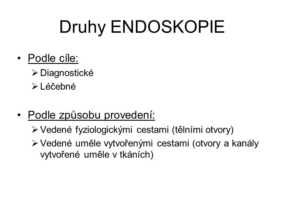 Endoskopie vedené fyziologickými cestami Otiatrická (ušní) Transnazální (nosem)  rinoskopie (vyšetření nosu)  epifaryngoskopie (vyšetření nosohltanu)  hypofaryngoskopie (vyšetření dolní části hltanu)  laryngoskopie (vyšetření hrtanu)  tracheobronchoskopie (vyšetření průdušnice a průduškového stromu) Perorální (ústy)  epifaryngoskopie retrográdní (zpětná)  Rinoskopie retrográdní (zpětná)  hypofaryngoskopie (vyšetření dolní části hltanu)  laryngoskopie (vyšetření hrtanu)  tracheobronchoskopie (vyšetření průdušnice a průduškového stromu)  Ezofagoskopie (vyšetření jícnu)  Gastroduoendoskopie (vyšetření žaludku a dvanácterníku)  Choledochoskopie (vyšetření žlučových cest)  Jejunoskopie (vyšetření tenkého střeva)