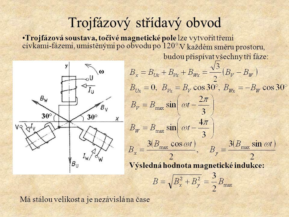 Trojfázový střídavý obvod Trojfázová soustava, točivé magnetické pole lze vytvořit třemi cívkami-fázemi, umístěnými po obvodu po 120°. V každém směru