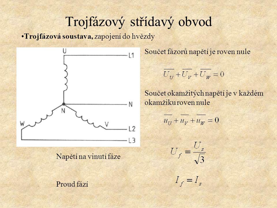 Trojfázový střídavý obvod Trojfázová soustava, zapojení do hvězdy Napětí na vinutí fáze Proud fází Součet fázorů napětí je roven nule Součet okamžitýc