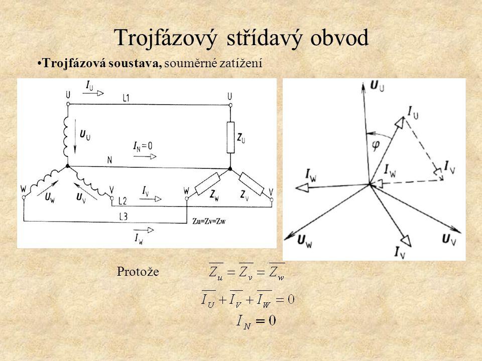 Trojfázový střídavý obvod Trojfázová soustava, souměrné zatížení Protože