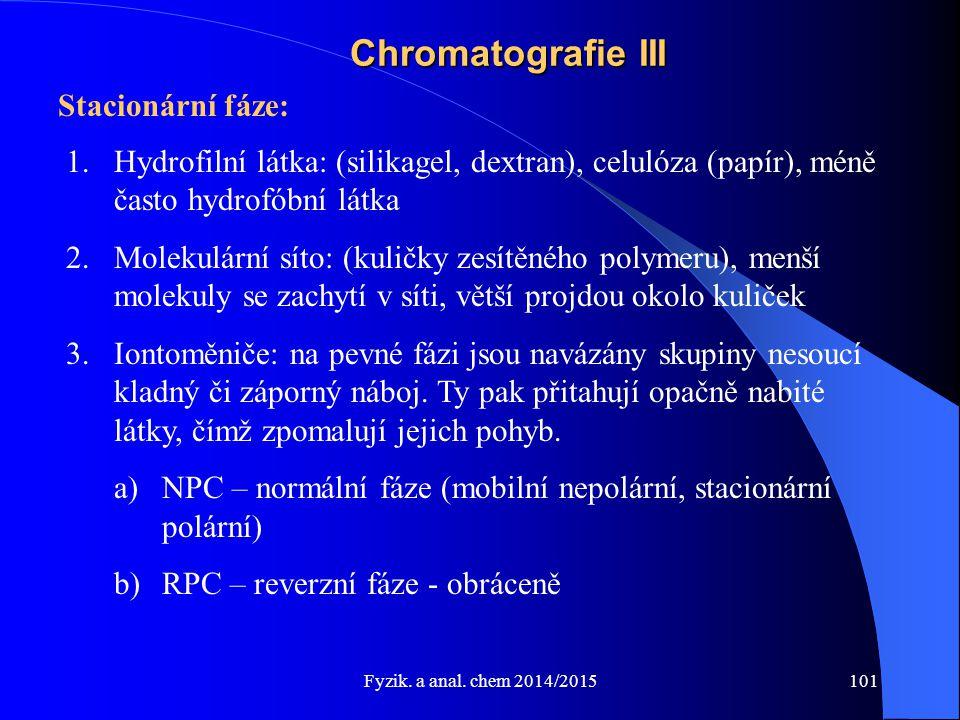 Fyzik. a anal. chem 2014/2015 Chromatografie III Stacionární fáze: 1.Hydrofilní látka: (silikagel, dextran), celulóza (papír), méně často hydrofóbní l