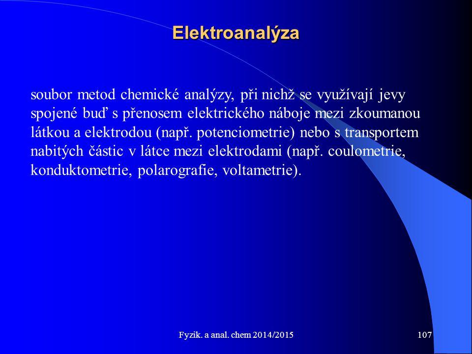 Fyzik. a anal. chem 2014/2015 Elektroanalýza soubor metod chemické analýzy, při nichž se využívají jevy spojené buď s přenosem elektrického náboje mez